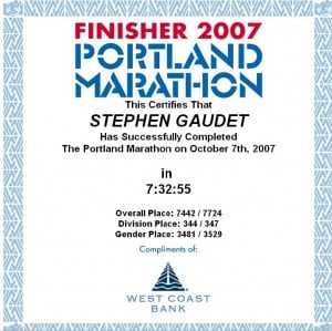 Portland marathon finisher certificate