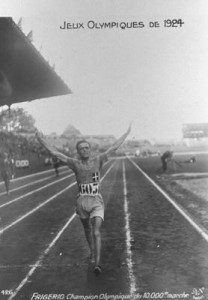 Italy's Ugo Frigerio wins the 10-kilometer race walk at the 1924 Olympics