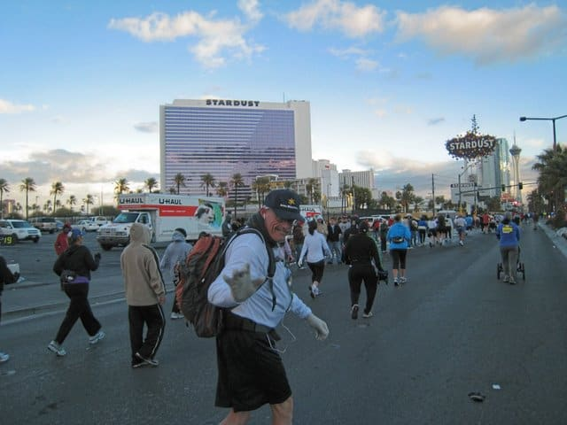 Mike at the Las Vegas marathon hauling his oxygen tank on his back