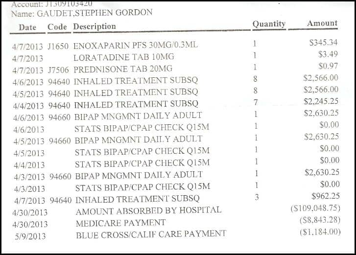 hosp bill summary