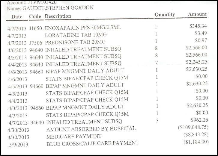 hosp bill summary